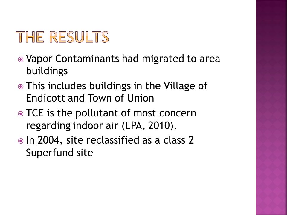 Vapor Contaminants had migrated to area buildings This includes buildings in the Village of Endicott and Town of Union TCE is the pollutant of most co