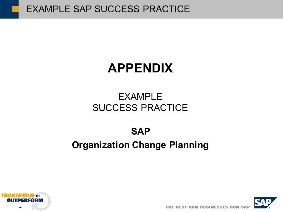 2 EXAMPLE SAP SUCCESS PRACTICE APPENDIX EXAMPLE SUCCESS PRACTICE SAP Organization Change Planning