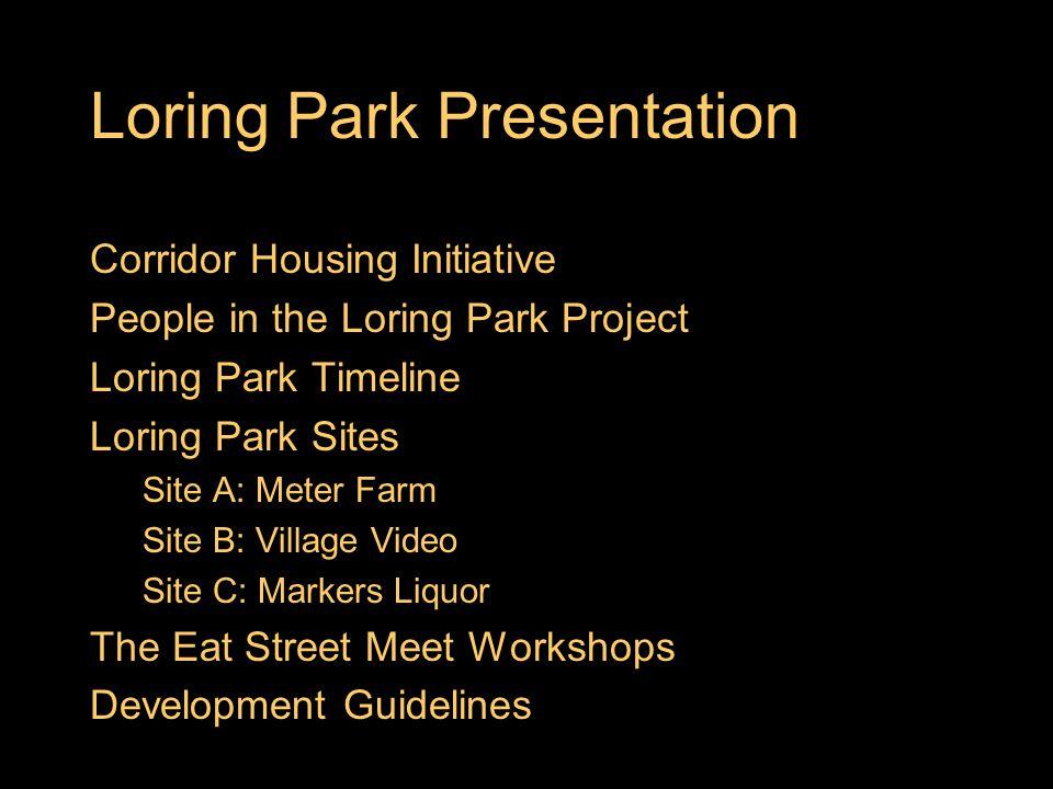 Loring Park Presentation Corridor Housing Initiative People in the Loring Park Project Loring Park Timeline Loring Park Sites Site A: Meter Farm Site