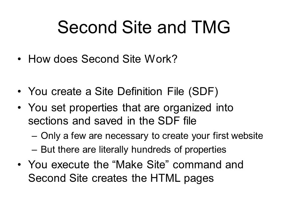 Second Site and TMG How does Second Site Work.