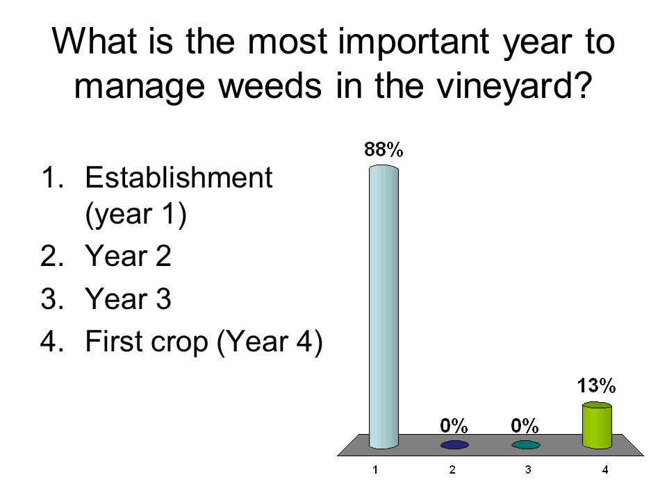 What is the most important year to manage weeds in the vineyard? 1.Establishment (year 1) 2.Year 2 3.Year 3 4.First crop (Year 4)