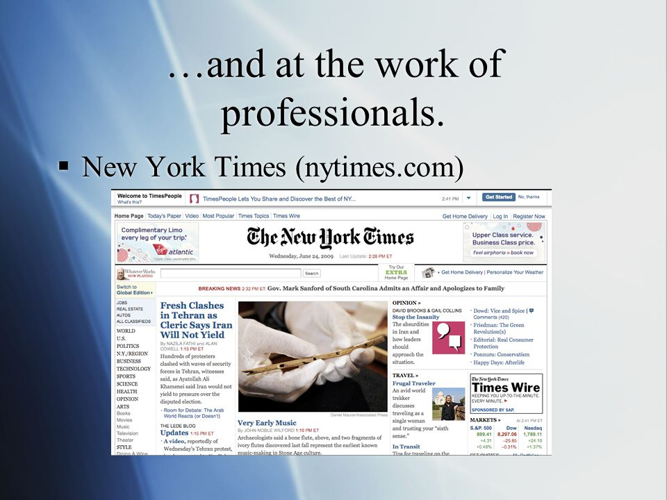 …and at the work of professionals. New York Times (nytimes.com)