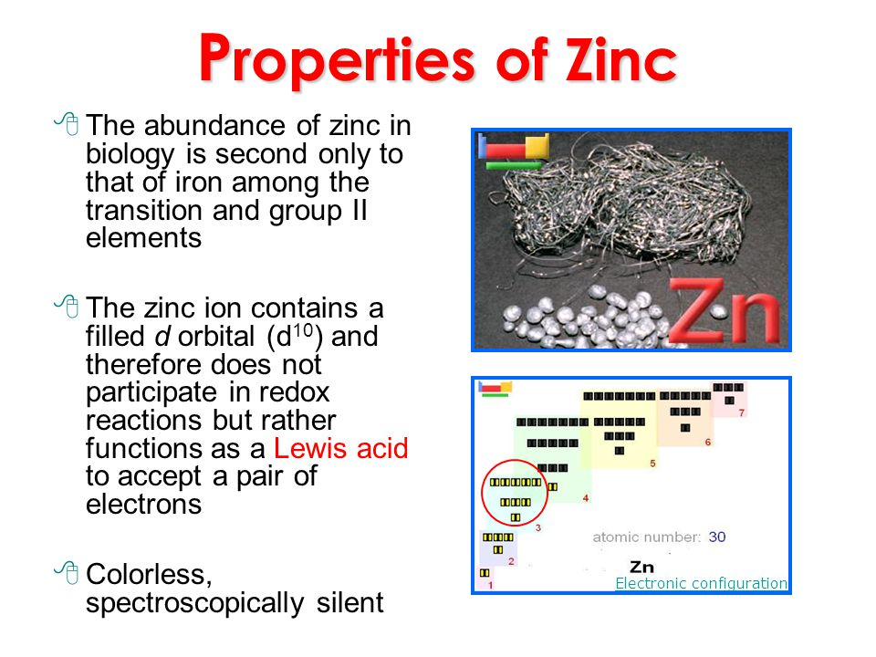 P roperties of Zinc The abundance of zinc in biology is second only to that of iron among the transition and group II elements The zinc ion contains a