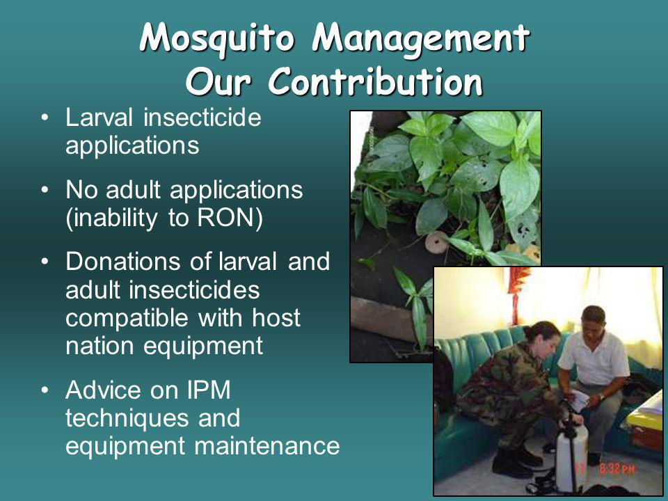 Mosquito Management Our Contribution Larval insecticide applications No adult applications (inability to RON) Donations of larval and adult insecticid