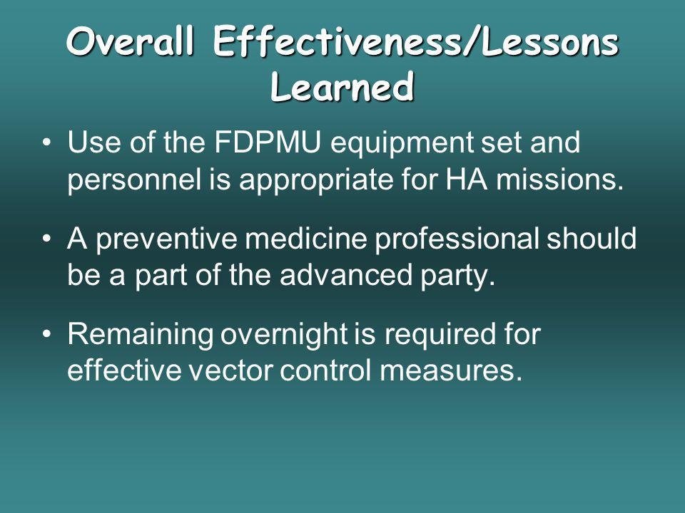 Overall Effectiveness/Lessons Learned Use of the FDPMU equipment set and personnel is appropriate for HA missions. A preventive medicine professional