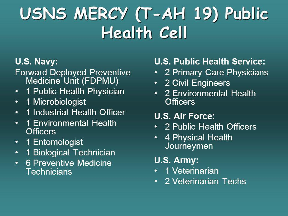 USNS MERCY (T-AH 19) Public Health Cell U.S. Navy: Forward Deployed Preventive Medicine Unit (FDPMU) 1 Public Health Physician 1 Microbiologist 1 Indu