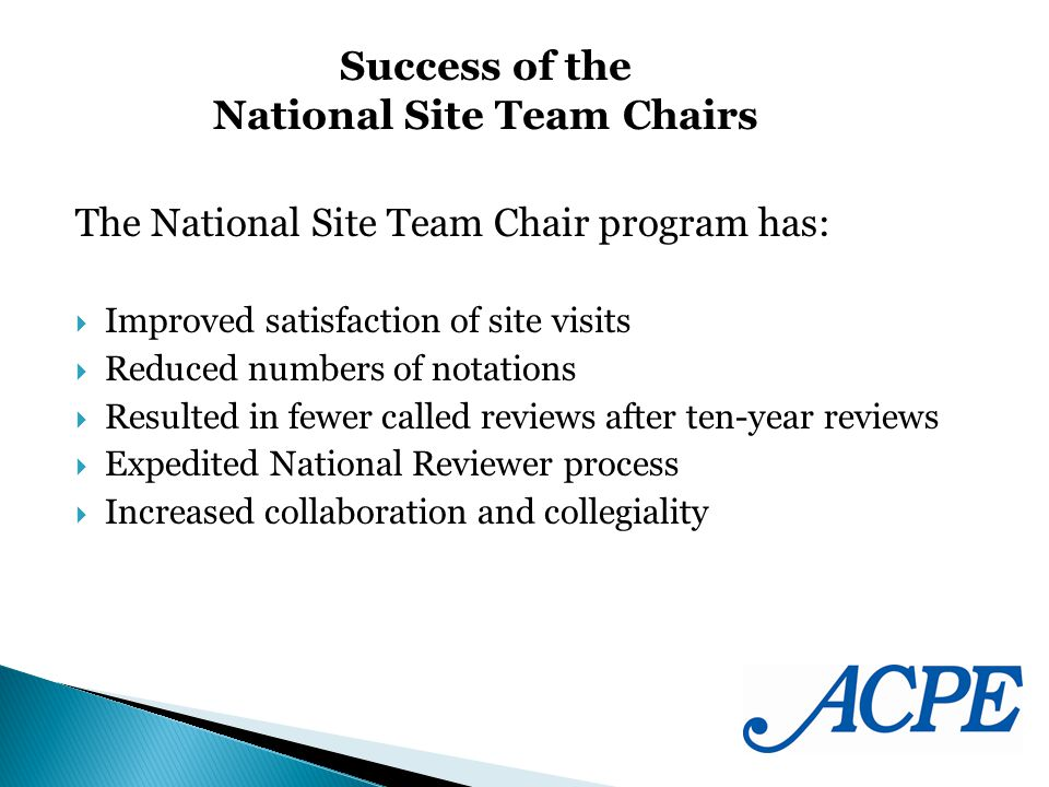 The National Site Team Chair program has: Improved satisfaction of site visits Reduced numbers of notations Resulted in fewer called reviews after ten-year reviews Expedited National Reviewer process Increased collaboration and collegiality Success of the National Site Team Chairs