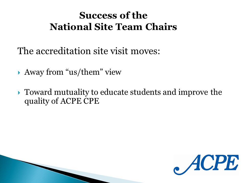 The accreditation site visit moves: Away from us/them view Toward mutuality to educate students and improve the quality of ACPE CPE Success of the National Site Team Chairs