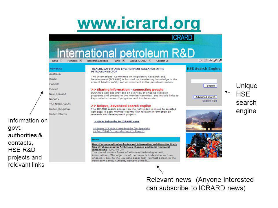 www.icrard.org Unique HSE search engine Information on govt.