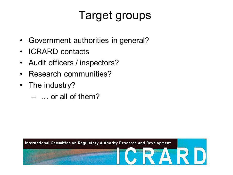 Target groups Government authorities in general. ICRARD contacts Audit officers / inspectors.