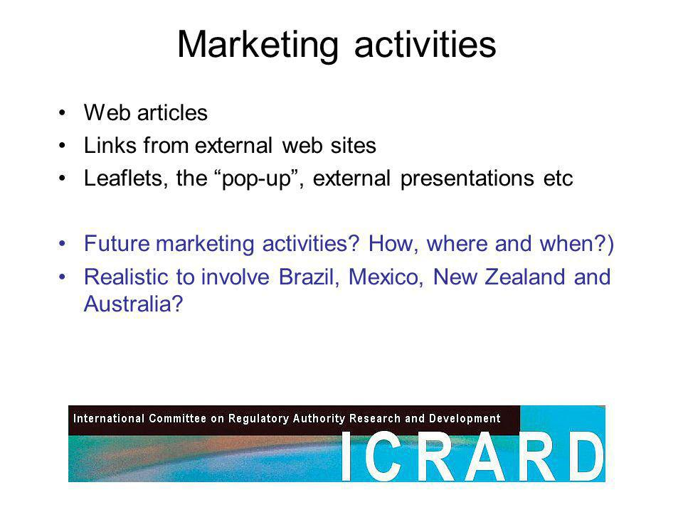 Marketing activities Web articles Links from external web sites Leaflets, the pop-up, external presentations etc Future marketing activities.