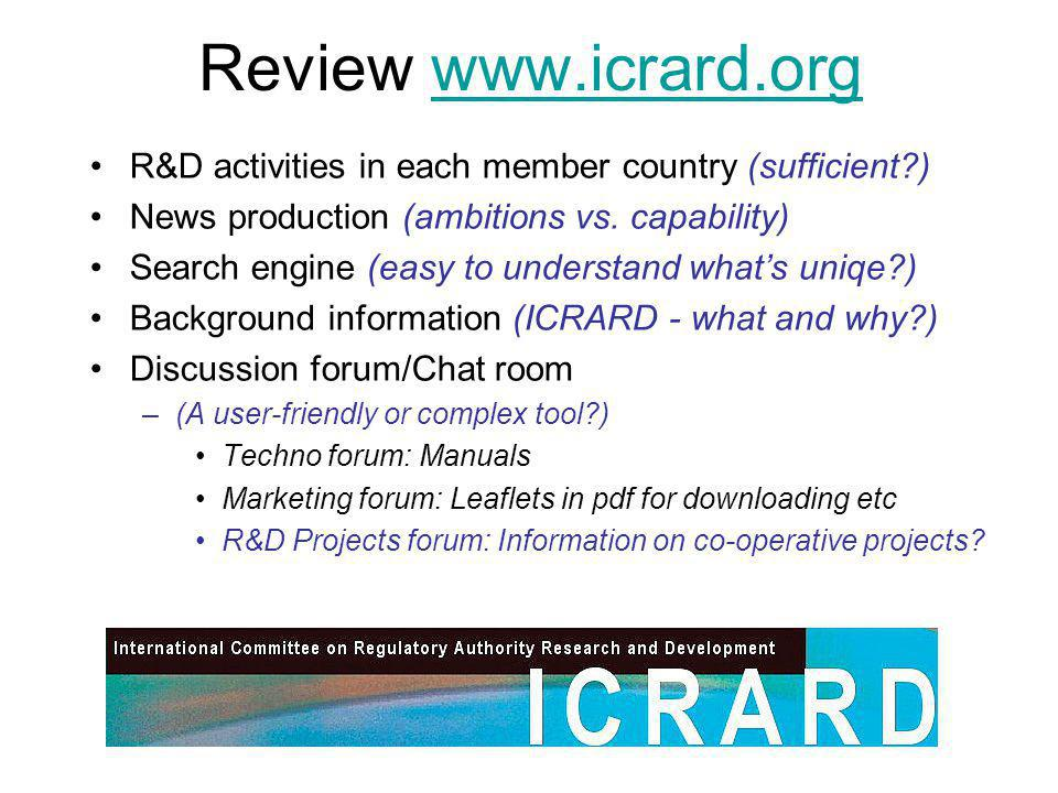 Review www.icrard.orgwww.icrard.org R&D activities in each member country (sufficient ) News production (ambitions vs.