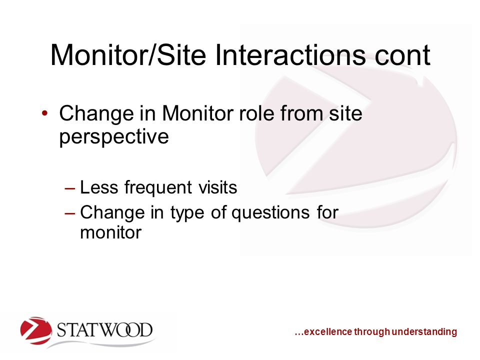 …excellence through understanding Monitor/Site Interactions cont Change in Monitor role from site perspective –Less frequent visits –Change in type of questions for monitor