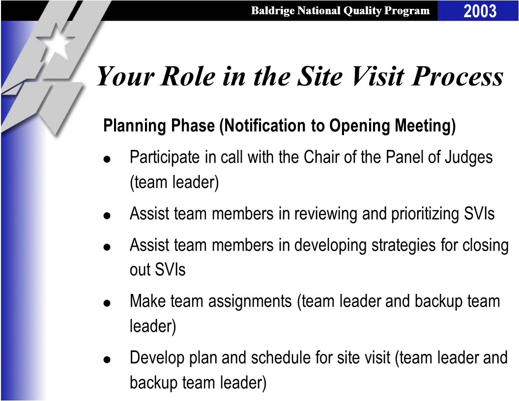 Baldrige National Quality Program 2003 Baldrige National Quality Program Your Role in the Site Visit Process Planning Phase (Notification to Opening Meeting) l Participate in call with the Chair of the Panel of Judges (team leader) l Assist team members in reviewing and prioritizing SVIs l Assist team members in developing strategies for closing out SVIs l Make team assignments (team leader and backup team leader) l Develop plan and schedule for site visit (team leader and backup team leader)