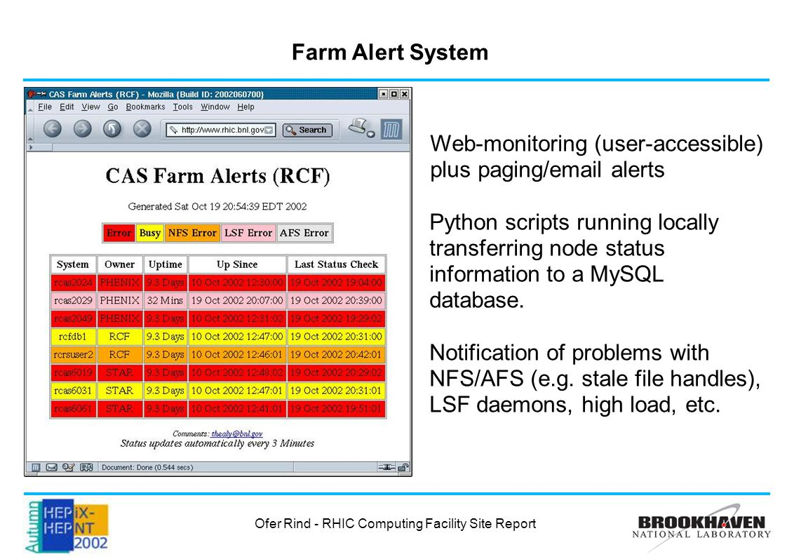 Farm Alert System Web-monitoring (user-accessible) plus paging/email alerts Python scripts running locally transferring node status information to a MySQL database.