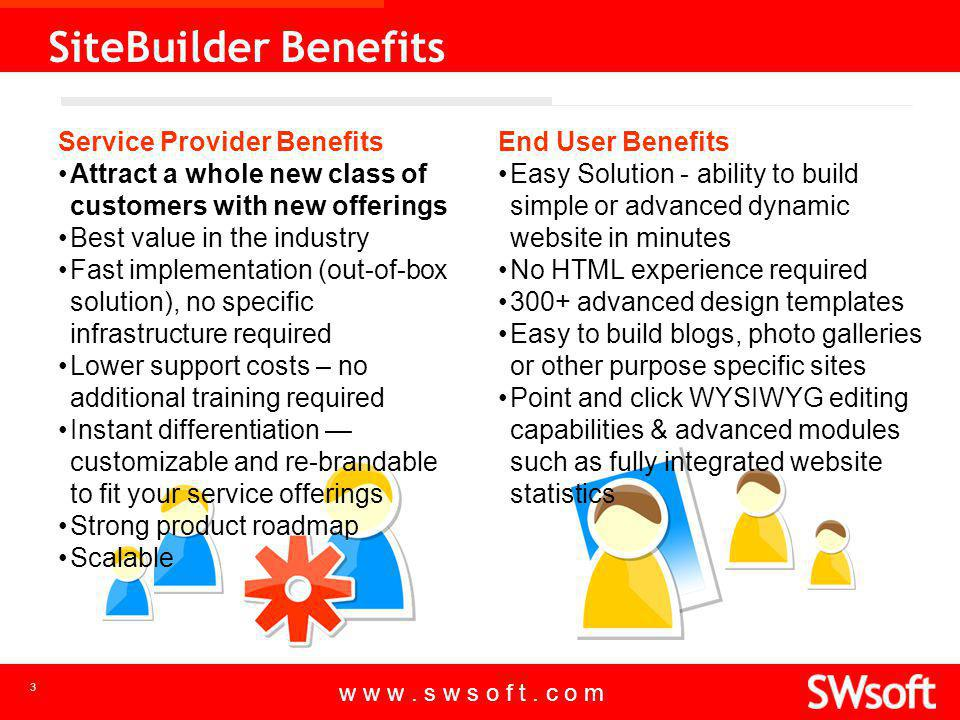 w w w. s w s o f t. c o m 3 SiteBuilder Benefits Service Provider Benefits Attract a whole new class of customers with new offerings Best value in the