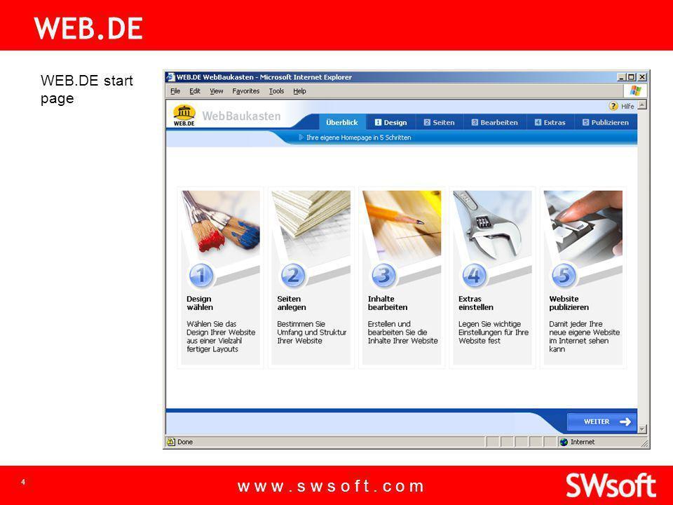 w w w. s w s o f t. c o m 4 WEB.DE WEB.DE start page