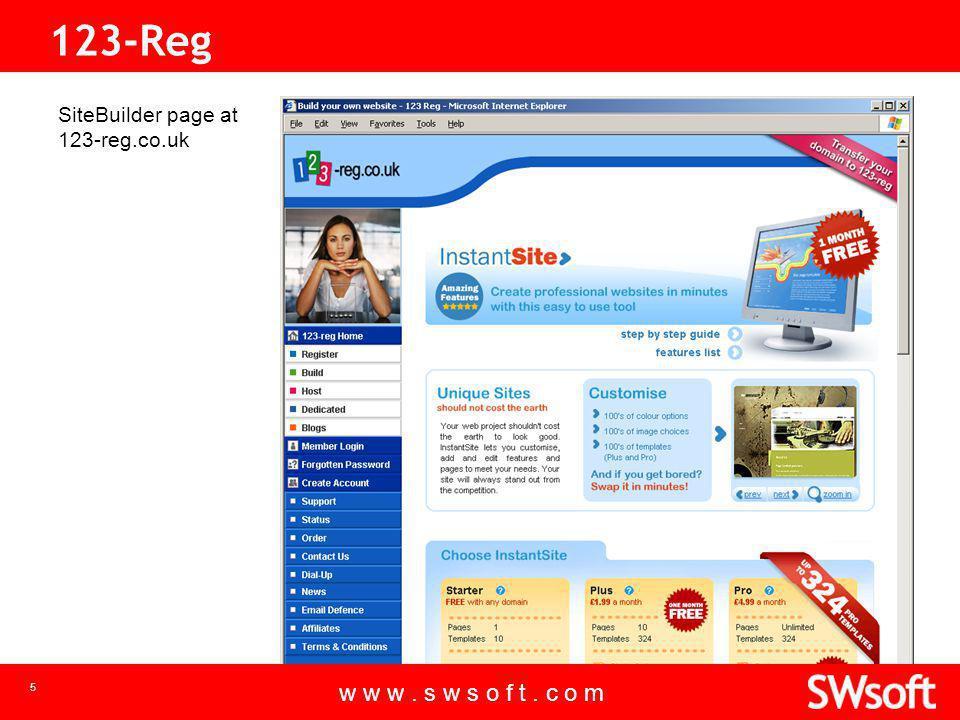 w w w. s w s o f t. c o m 5 123-Reg SiteBuilder page at 123-reg.co.uk w w w.