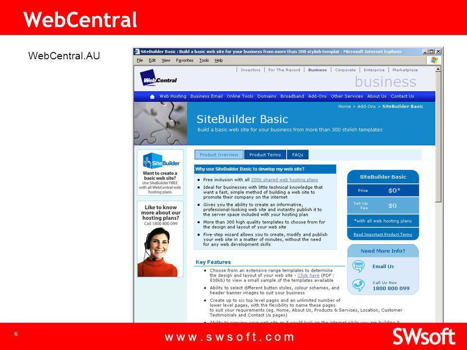 w w w. s w s o f t. c o m 6 WebCentral.AU w w w. s w s o f t. c o m WebCentral 6