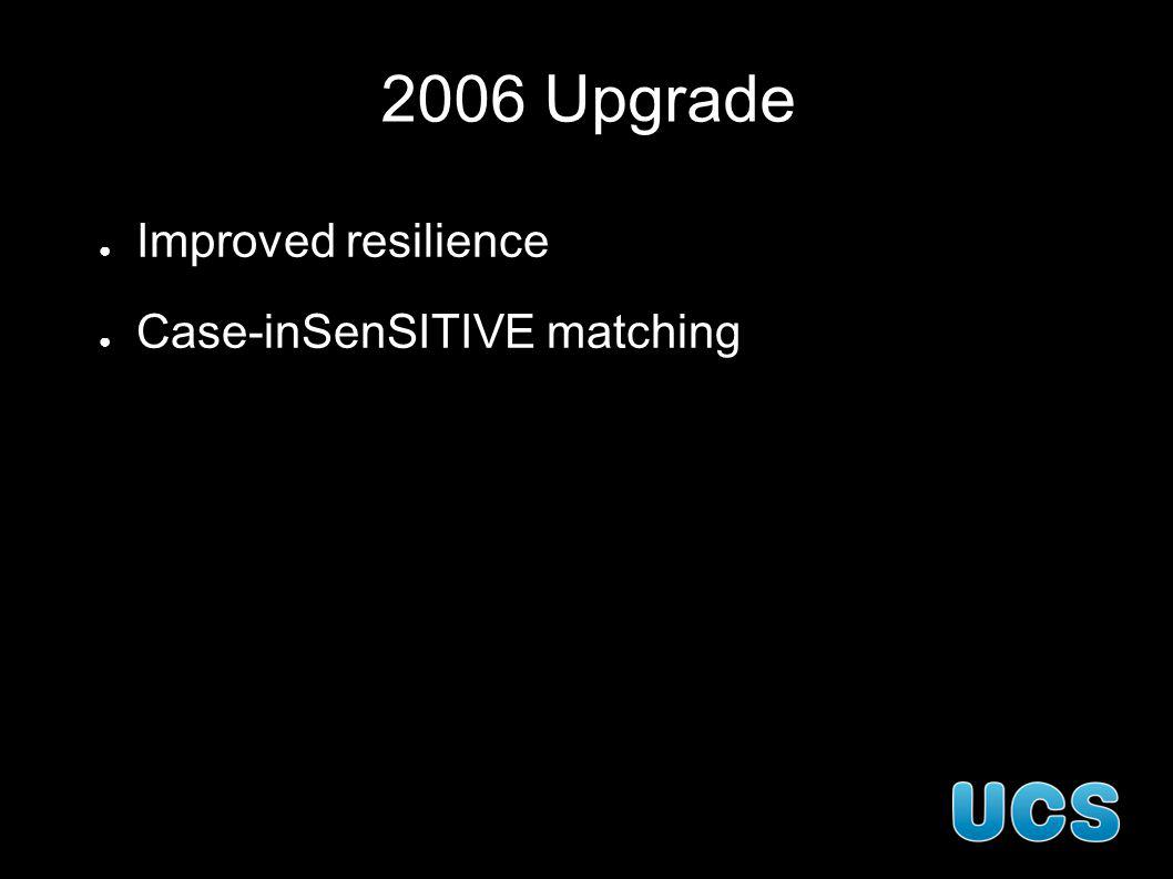 2006 Upgrade Improved resilience Case-inSenSITIVE matching