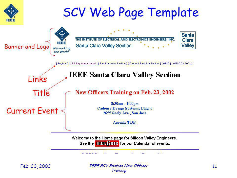 Feb. 23, 2002 IEEE SCV Section New Officer Training 11 Banner and Logo Links Title Current Event SCV Web Page Template