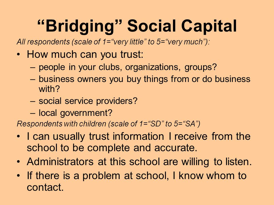 Bridging Social Capital All respondents (scale of 1=very little to 5=very much): How much can you trust: –people in your clubs, organizations, groups.
