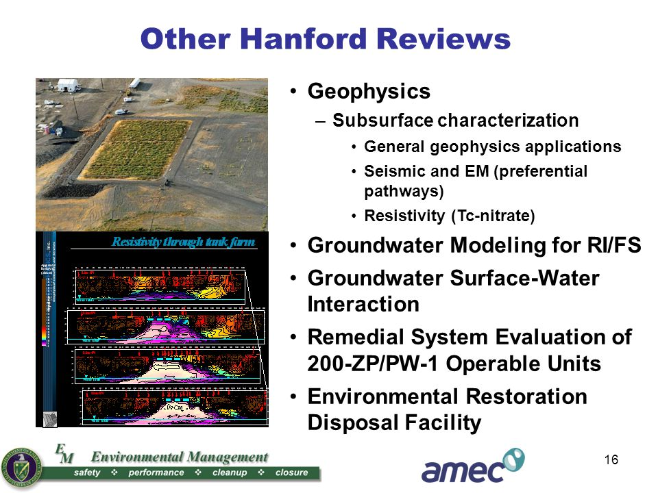 16 Geophysics –Subsurface characterization General geophysics applications Seismic and EM (preferential pathways) Resistivity (Tc-nitrate) Groundwater Modeling for RI/FS Groundwater Surface-Water Interaction Remedial System Evaluation of 200-ZP/PW-1 Operable Units Environmental Restoration Disposal Facility Other Hanford Reviews