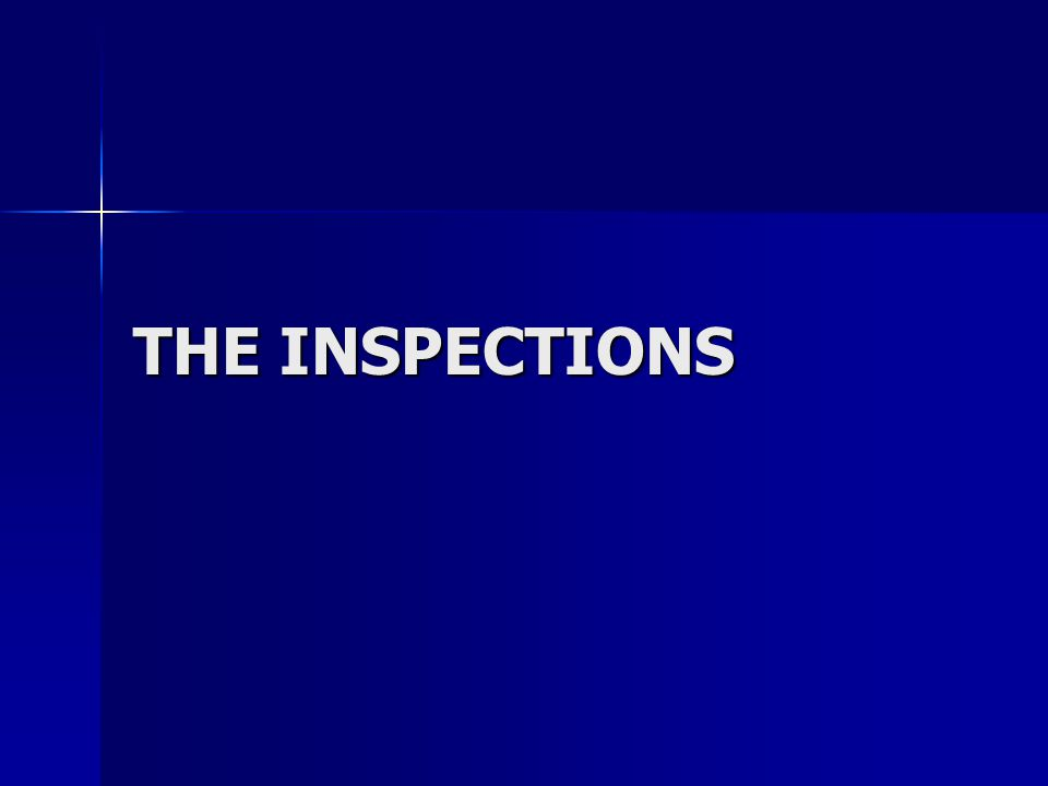 THE INSPECTIONS