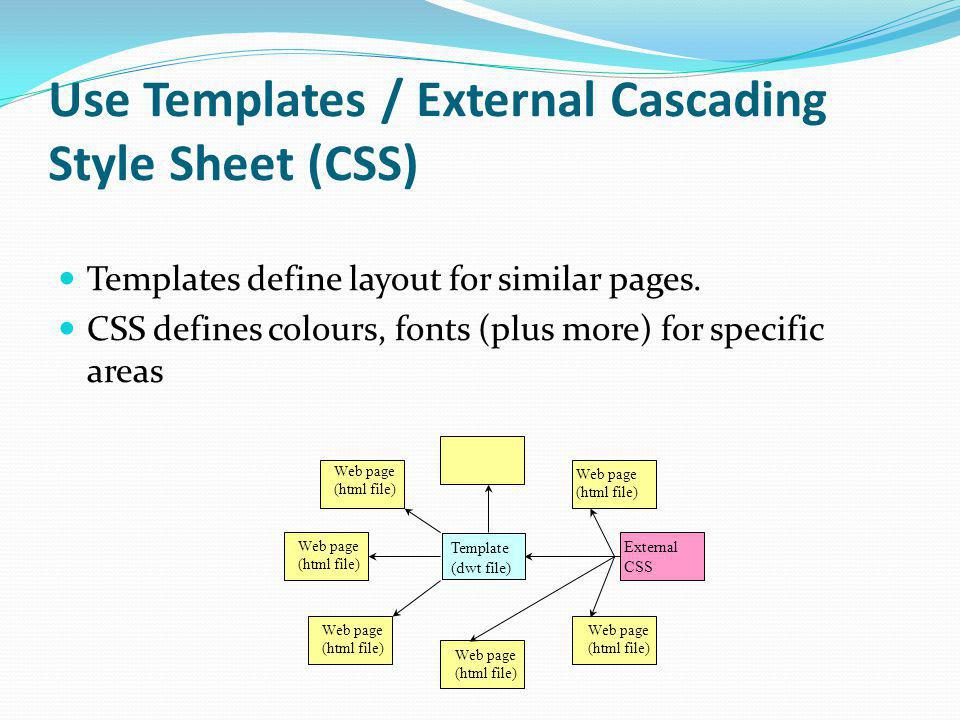 Use Templates / External Cascading Style Sheet (CSS) Templates define layout for similar pages. CSS defines colours, fonts (plus more) for specific ar