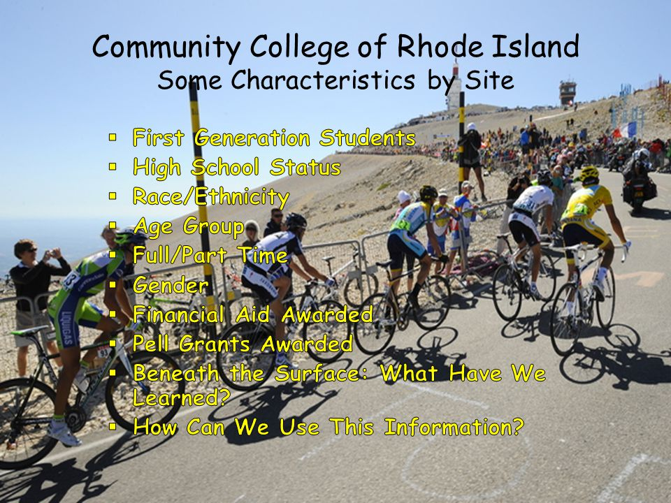Community College of Rhode Island Some Characteristics by Site