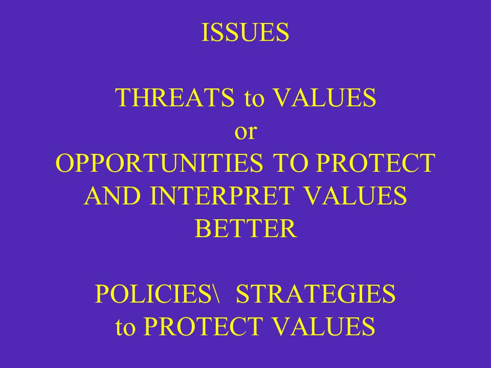 ISSUES THREATS to VALUES or OPPORTUNITIES TO PROTECT AND INTERPRET VALUES BETTER POLICIES\ STRATEGIES to PROTECT VALUES