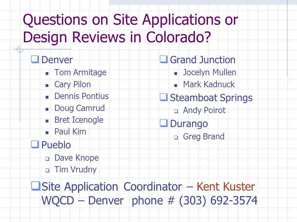 Questions on Site Applications or Design Reviews in Colorado.