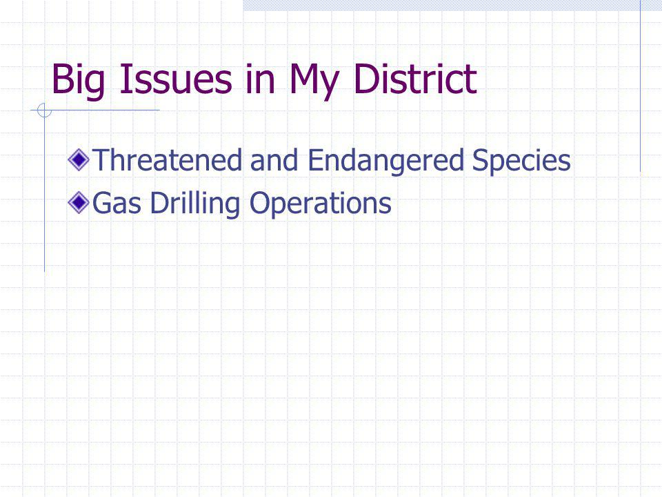Big Issues in My District Threatened and Endangered Species Gas Drilling Operations