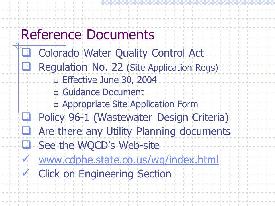 Reference Documents Colorado Water Quality Control Act Regulation No.