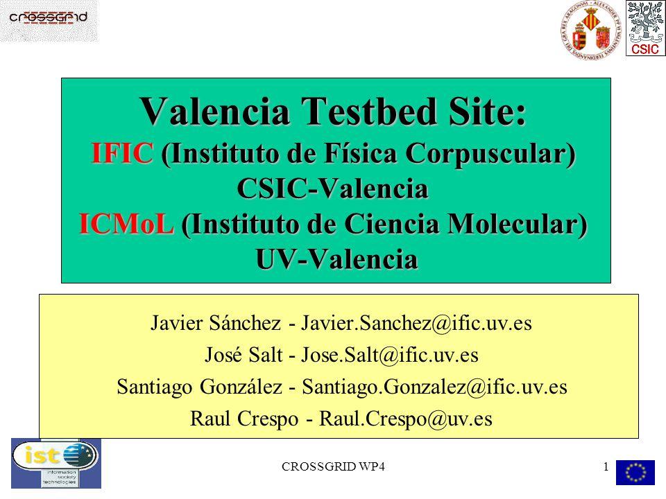 CROSSGRID WP41 Valencia Testbed Site: IFIC (Instituto de Física Corpuscular) CSIC-Valencia ICMoL (Instituto de Ciencia Molecular) UV-Valencia Javier S