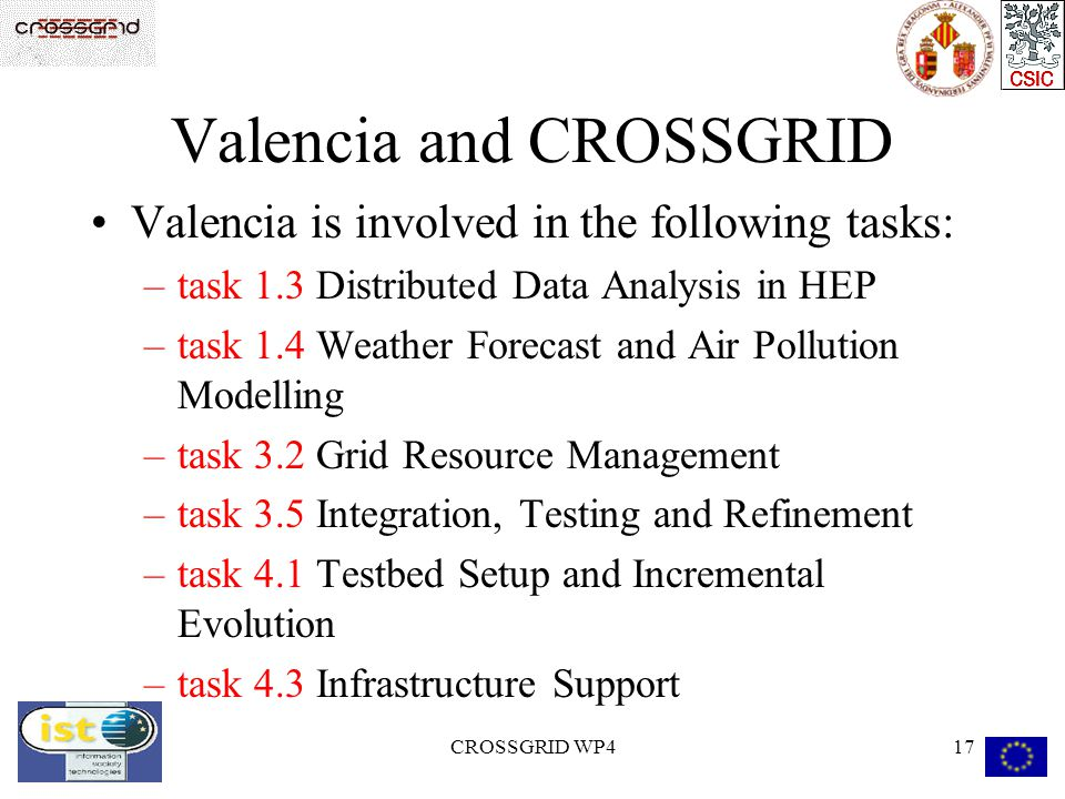 CROSSGRID WP417 Valencia and CROSSGRID Valencia is involved in the following tasks: –task 1.3 Distributed Data Analysis in HEP –task 1.4 Weather Forec