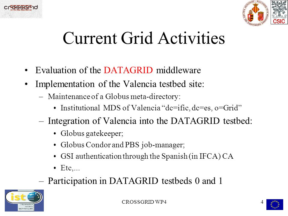 CROSSGRID WP44 Current Grid Activities Evaluation of the DATAGRID middleware Implementation of the Valencia testbed site: –Maintenance of a Globus meta-directory: Institutional MDS of Valencia dc=ific, dc=es, o=Grid –Integration of Valencia into the DATAGRID testbed: Globus gatekeeper; Globus Condor and PBS job-manager; GSI authentication through the Spanish (in IFCA) CA Etc,...