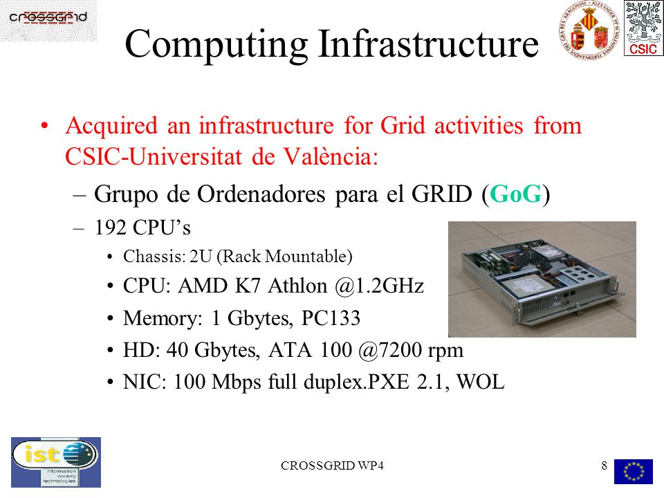 CROSSGRID WP48 Computing Infrastructure Acquired an infrastructure for Grid activities from CSIC-Universitat de València: –Grupo de Ordenadores para el GRID (GoG) –192 CPUs Chassis: 2U (Rack Mountable) CPU: AMD K7 Athlon @1.2GHz Memory: 1 Gbytes, PC133 HD: 40 Gbytes, ATA 100 @7200 rpm NIC: 100 Mbps full duplex.PXE 2.1, WOL