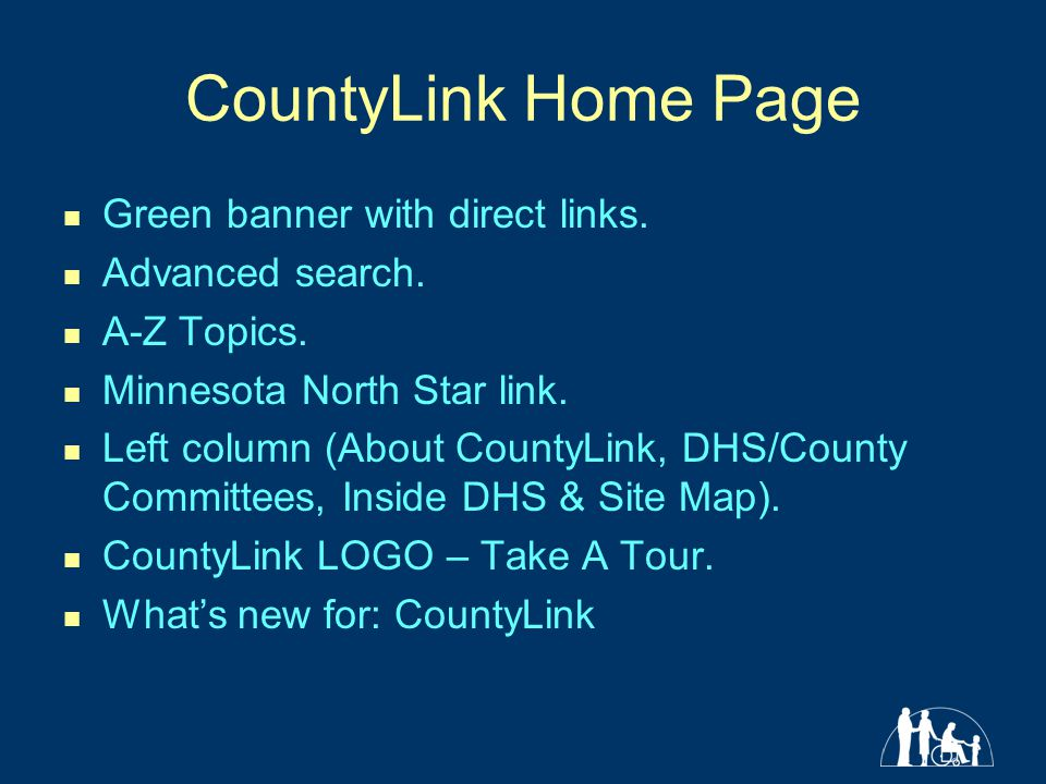 CountyLink Home Page Green banner with direct links.