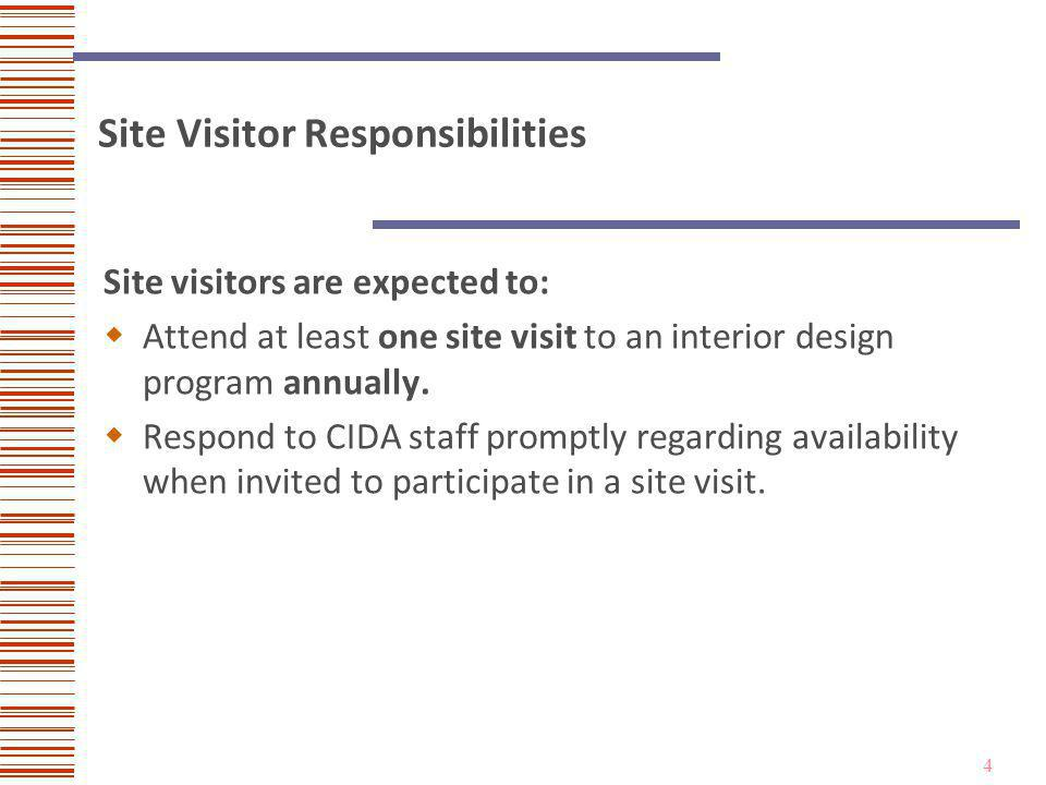 4 Site Visitor Responsibilities Site visitors are expected to: Attend at least one site visit to an interior design program annually.