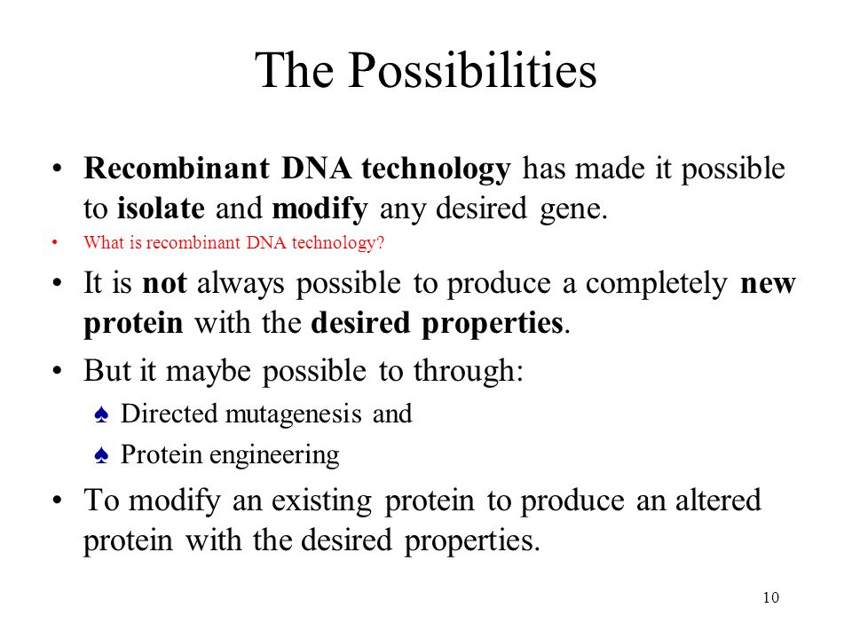 10 The Possibilities Recombinant DNA technology has made it possible to isolate and modify any desired gene.