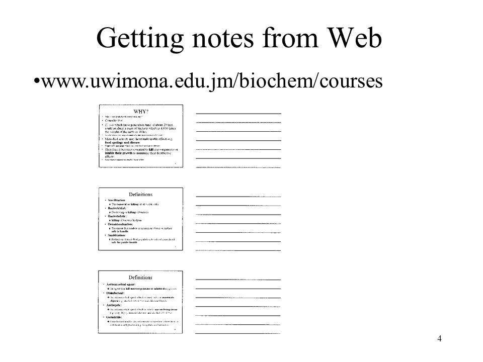 4 Getting notes from Web www.uwimona.edu.jm/biochem/courses