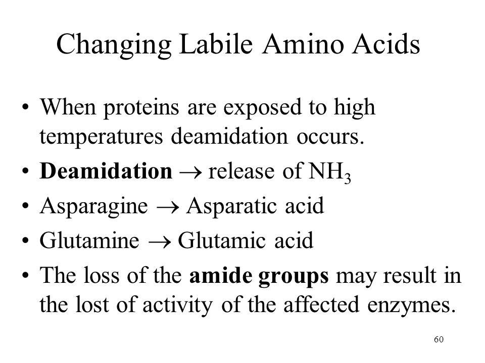 60 Changing Labile Amino Acids When proteins are exposed to high temperatures deamidation occurs.