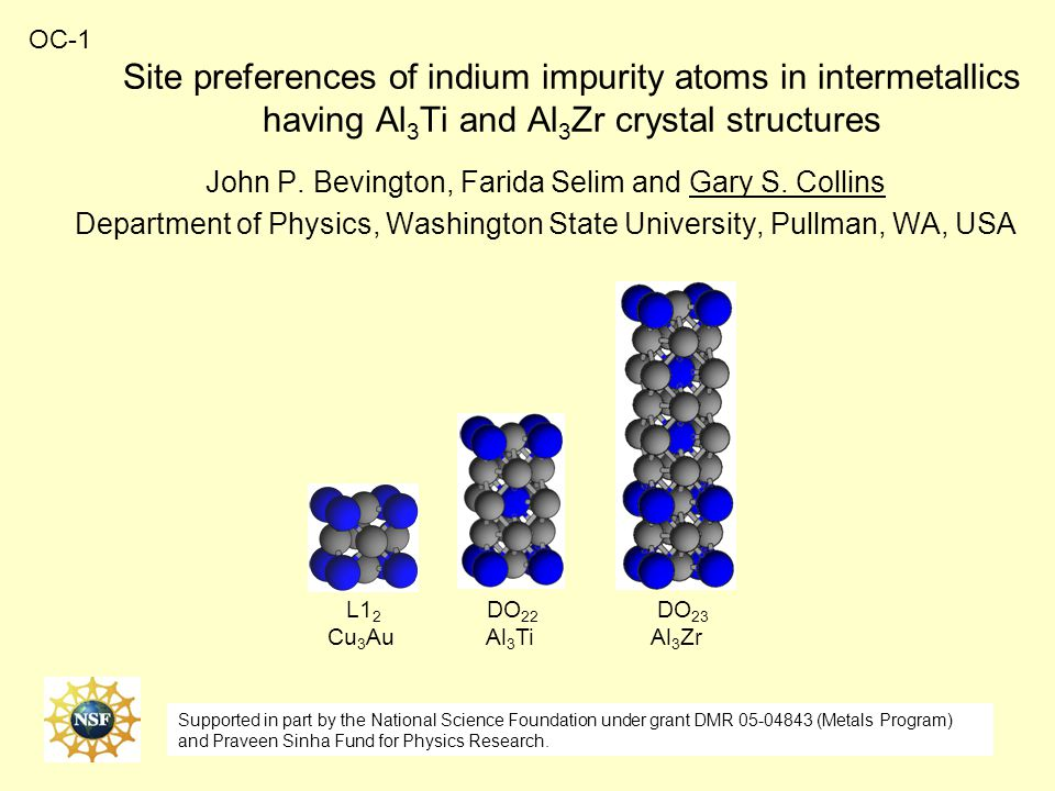 Site preferences of indium impurity atoms in intermetallics having Al 3 Ti and Al 3 Zr crystal structures John P.