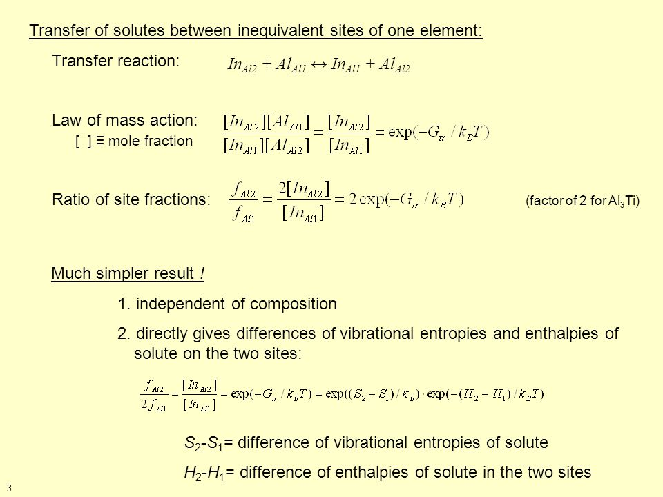 Transfer of solutes between inequivalent sites of one element: Transfer reaction: Law of mass action: [ ] mole fraction Ratio of site fractions: (factor of 2 for Al 3 Ti) In Al2 + Al Al1 In Al1 + Al Al2 Much simpler result .
