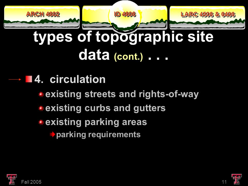 ARCH 4602 LARC 4506 & 6406 ID 4606 Fall 200511 types of topographic site data (cont.)...