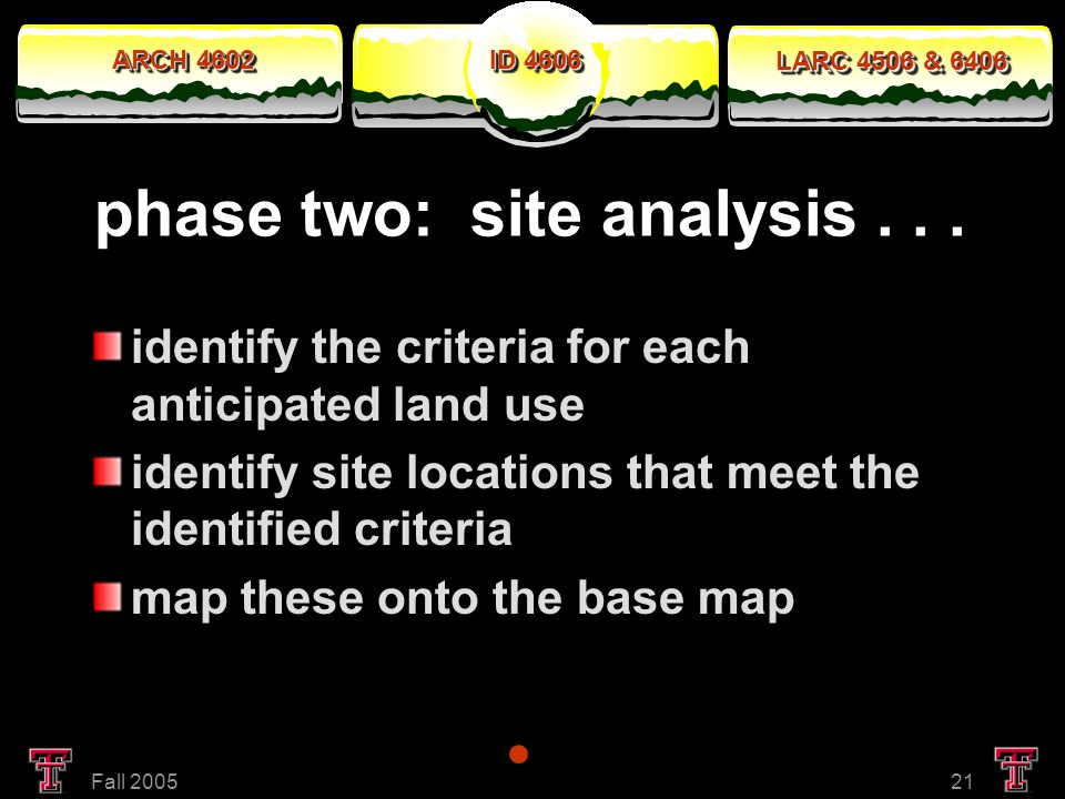 ARCH 4602 LARC 4506 & 6406 ID 4606 Fall 200521 phase two: site analysis...