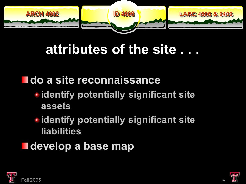 ARCH 4602 LARC 4506 & 6406 ID 4606 Fall 20054 do a site reconnaissance identify potentially significant site assets identify potentially significant site liabilities develop a base map attributes of the site...