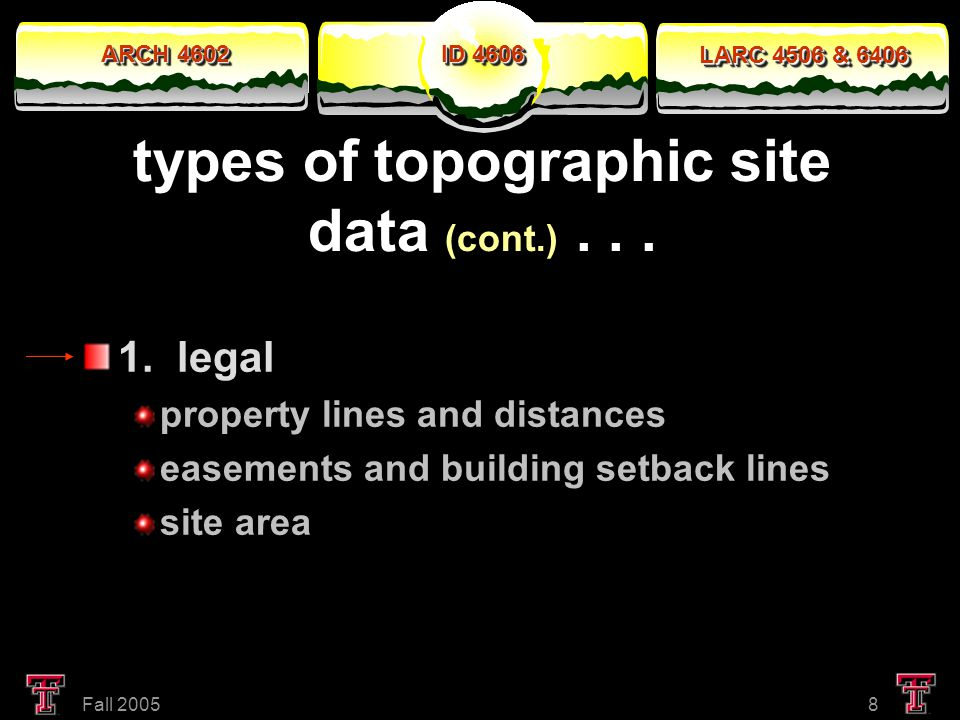 ARCH 4602 LARC 4506 & 6406 ID 4606 Fall 20058 types of topographic site data (cont.)...