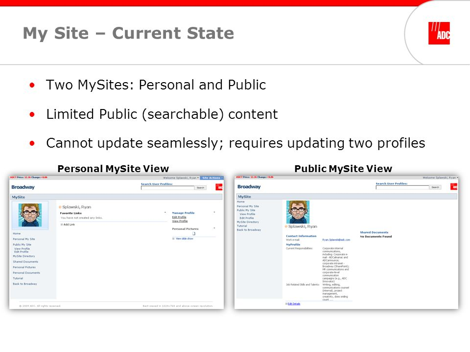 My Site – Current State Two MySites: Personal and Public Limited Public (searchable) content Cannot update seamlessly; requires updating two profiles Personal MySite ViewPublic MySite View
